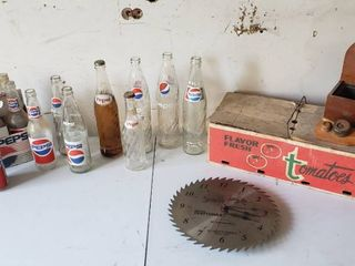 Vintage Pepsi Bottles  Craftsman Wall Clock  Vintage Tomato Box and Other Decor