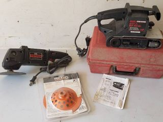 Craftsman 3 x 21 in  Belt Sander w case  Craftsman 3 8 HP 2 Speed 6 in  sander polisher and Ridgid 7 in  Diamond Cup Wheel   both work