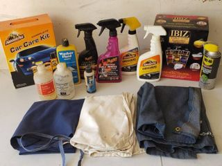 Car Cleaning Products and Work Aprons