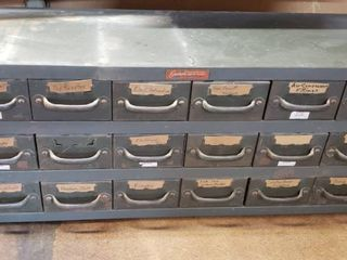 18 Drawer Parts Bin w Contents   34 x 12 x 14in