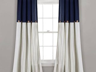 lush Decor linen Button Window Curtain Navy White 40  x 95