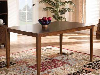 Baxton Studio Eveline Walnut Finished Rectangular Wood Dining Table