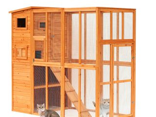 Pawhut large Wooden Outdoor Cat Enclosure Cage With Ramp and Main House  Retail 459 99