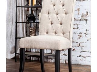 Furniture of America Sheila Button Tufted Flax Dining Chairs  Set of 2  Retail 213 74