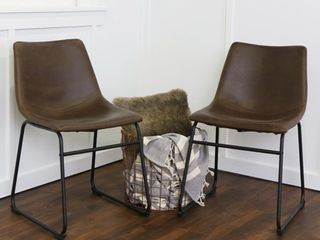 Carbon loft Prusiner Faux leather Dining Chairs  Set of 2    Brown  Retail 173 99