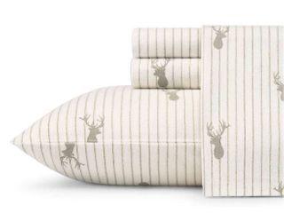 Eddie Bauer Cotton Flannel Queen Deer lodge Bed Sheet Sets
