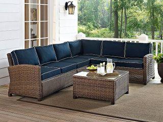 Bradenton 5 Piece Outdoor Wicker Seating Set with Navy Cushions  Retail 1889 99