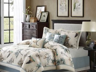 Madison Park Pierce 7 piece Cotton Twill Printed Cal King Comforter Set  Retail 130 69