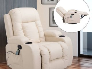 HomCom Overstuffed luxury Faux leather Heated Massaging Recliner Chair With Remote And Drink Holders  Retail 424 99