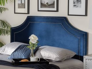 Queen Avignon Velvet Headboard Blue   Baxton Studio