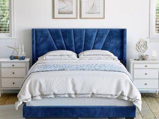 Sleep Sync Valentina Upholstered Velvet Platform Queen Bed Frame  Retail 236 99