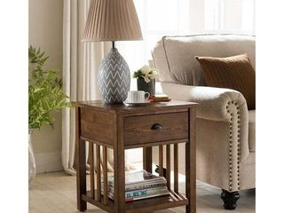 Copper Grove Vedi Oak Brown Side Table With Charging Station