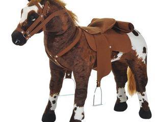 Qaba Children s Plush Interactive Standing Ride On Horse Toy with Sound  Dark Brown