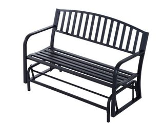 Outsunny 50  Outdoor Patio Swing Glider Bench Chair with High Back Support   Durable Material   Black  Retail 159 49