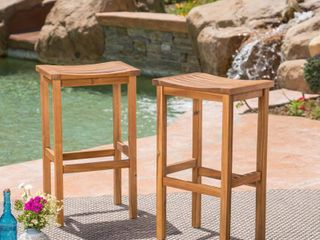 Caribbean Acacia Wood Outdoor Bar Stools by Christopher Knight Home
