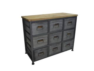 Carbon loft Pehrson Aged Metal and Blonde Wood 9 drawer Accent Cabinet  Retail 208 49