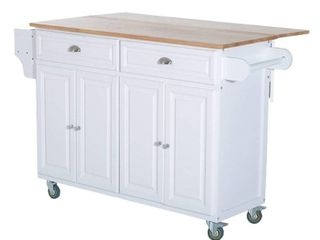 HomCom Wood Top Drop leaf Multi Storage Cabinet Rolling Kitchen Island Table Cart With Wheels   White   Retail 437 49