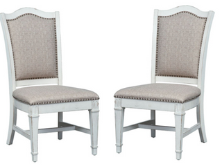 Abbey Park Antique White Upholstered Side Chair  Set of 2  Retail 495 99