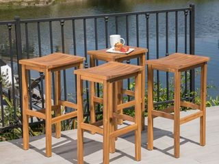 Caribbean Acacia Wood Outdoor Bar Stool  Set of 4  by Christopher Knight Home  Retail 283 49