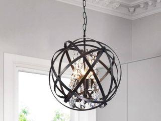 4 light Metal Globe Crystal Chandelier