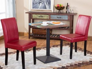 Urban Style Solid Wood leatherette Small Padded Parson Chairs  Set of 2  Retail 106 49