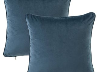 Two Gracewood Hollow Osmanagic 20 inch Square Solid Velvet Pillow Covers  Set of 2