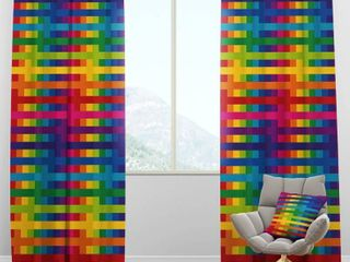 Designart  Rainbow Colors Simple Geometric Pattern  Mid Century Modern Curtain Panel  Retail 83 99