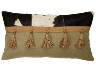 Rizzy Home Brown Half Solid with Tassels 14 X 26  Throw Pillow  Retail 91 99