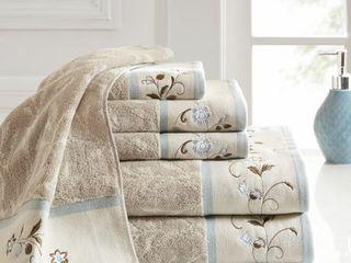 Madison Park Cotton 6 Pc  Embroidered Serene Jacquard Towel Set