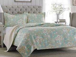 laura Ashley Brompton Serene Reversible Cotton Quilt Set  Full Queen   Retail 99 98