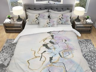 Gold lines on Pastel I  Geometric Duvet Cover and Shams   Full Queen