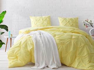 Yellow Pin Tuck Full Comforter Set