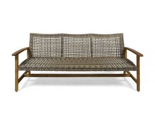 Hampton Outdoor Wood And Wicker Sofa
