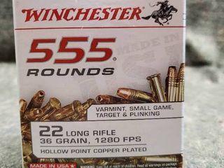 Box of Winchester 555  22 long Rifle  36 grain  Hollow Point Rimfire Ammunition
