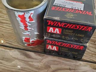 lot of 2 Boxes Winchester 12 Gauge AA light Target load Ammo and Can of Misc  Ammo