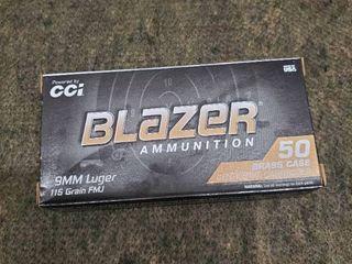 1 boxes of Blazer Brass 9mm luger 115 grain FMJ  50 Rounds per box