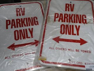 lot of 2 Metal RV Parking Only Signs