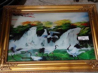 Framed Crane Artwork