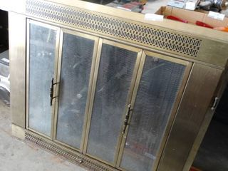 Brass and Glass Fire Place Screen