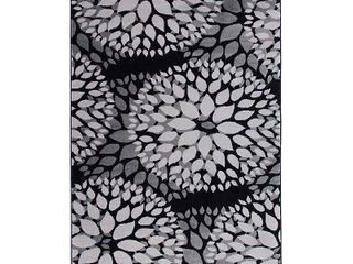 Modern Floral Circles Black 2 x3  Area Rug
