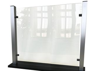 Waddell Counter Top Protective Plastic Shield With Aluminum Frame And Flat Base  25 rdquo H x 35 rdquo W x 6 rdquo D  Clear