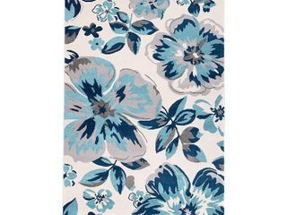 Modern Floral Design Turquoise 2 x3  Area Rug