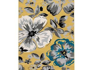 Modern Floral Design Yellow 2 x3  Area Rug