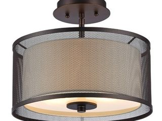 CHlOE lighting AUDREY Transitional 2 light Rubbed Bronze Semi flush Ceiling Fixture 13  Wide