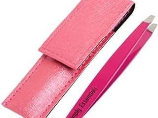 Tweezers Stainless Steel Slant Pink Includes Case  Precision Eyebrows Tweezer  Great For Eyebrow eBeauty