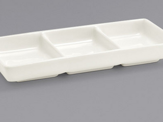 FOH White Porcelain Stackable Three Compartment Dish 12 pc