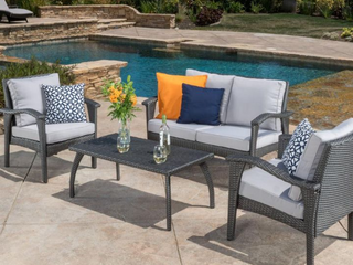 Honolulu Outdoor 4 piece Cushioned Wicker Seating Set by Christopher Knight Home  Retail 563 99
