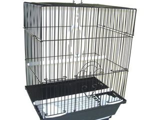Flat Top Medium Parakeet Cage with Removable Plastic Tray in Black - 13.3
