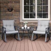 COSIEST Outdoor 3 Piece Bistro Set Rocking Chairs w Warm Gray Cushions Retail:$288.49
