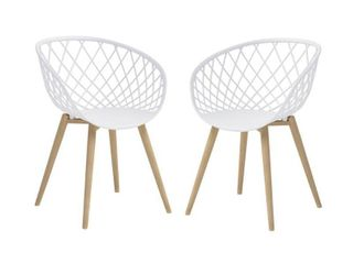 Jamesdar Kurv White/Natural Mini Chair (Set of 2)